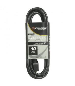 Accu Cable EC163-3FER25 Black 16 Gauge 3 Plug 25 Ft Extension Cable