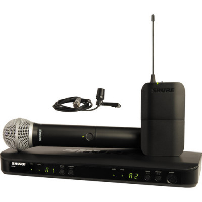 Shure BLX1288/CVL Dual Chan Wireless System w/ PG58 Handheld & CVL Lavalier Mics