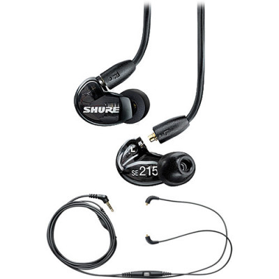 Shure SE215 Sound-Isolating Dynamic MicroDrivers In-Ear Stereo Earphones (Black)
