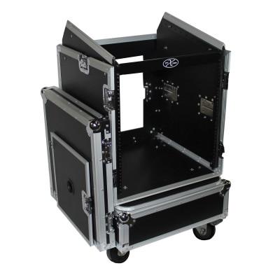"""Pro X T-12MRSS 12U x 10U Slant Combo DJ / Mixer Rack Case w/ 4"""" Wheels/Casters"""