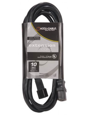 Accu-Cable ECCOM-6 6' 16AWG IEC Male To IEC Female Extension Cord